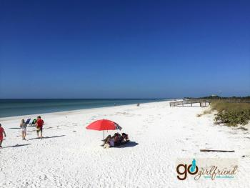 typical Gulf coast beach with flat white powdery beaches