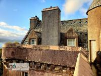 parapets, turrets, 3 foot thick walls (Castle Levan)!