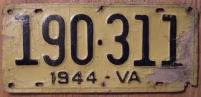 old Virginia licence plate